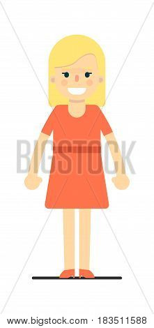 Beautiful young blonde girl in red dress isolated on white background vector illustration. People personage in flat design.