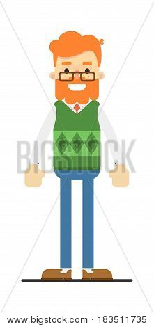 Happy redheaded bearded hipster character isolated on white background vector illustration. People personage in flat design.