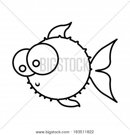 monochrome silhouette of blowfish with big eyes vector illustration