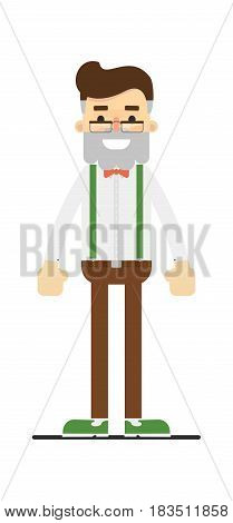 Adult hipster in shirt, suspenders and pants isolated on white background vector illustration. People personage in flat design.