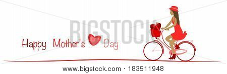 Happy Mother's day. Girl driving on bicycle with heart. Text : Happy Mother's day. Red shade.