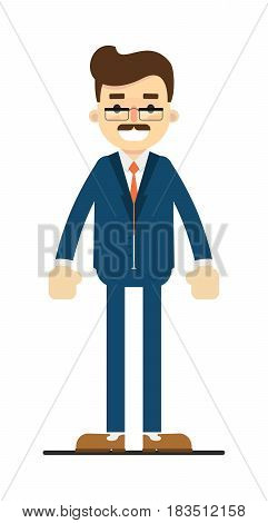 Smiling adult manager character isolated on white background vector illustration. People personage in flat design.