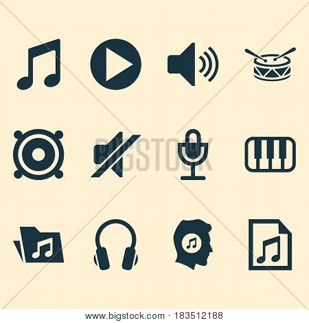 Audio Icons Set. Collection Of Mike, Meloman, Megaphone And Other Elements. Also Includes Symbols Such As Volume, File, Folder.