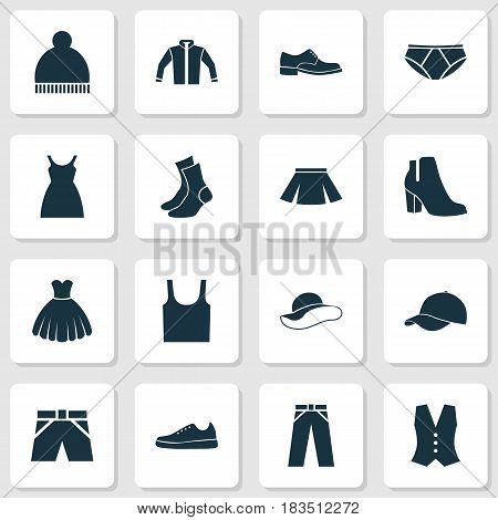 Dress Icons Set. Collection Of Briefs, Half-Hose, Beanie And Other Elements. Also Includes Symbols Such As Trousers, Sarafan, Female.