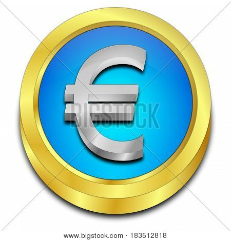glossy blue Button with Euro sign - 3D illustration