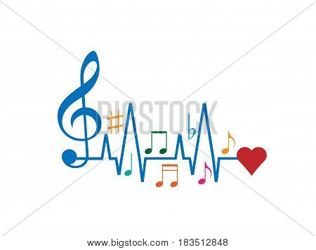Music to Heart isolated on white background. Vector illustration. Eps 10.