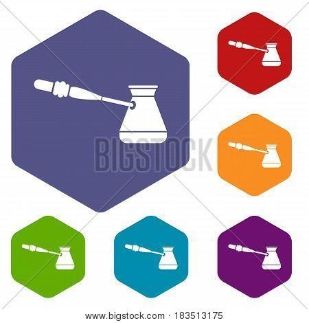 Coffee cezve icons set hexagon isolated vector illustration
