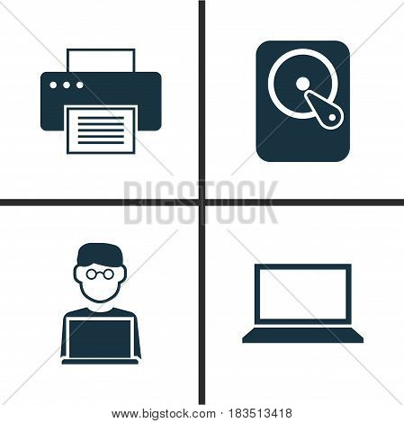 Laptop Icons Set. Collection Of Programmer, Printing Machine, Laptop And Other Elements. Also Includes Symbols Such As Laptop, Printer, Disk.