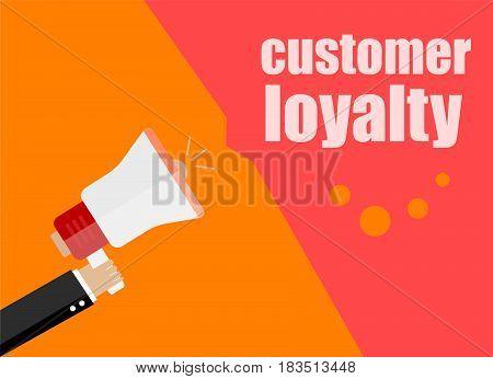 Flat Design Business Concept. Customer Loyalty. Digital Marketing Business Man Holding Megaphone For