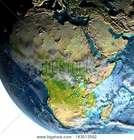 Africa From Space In The Morning