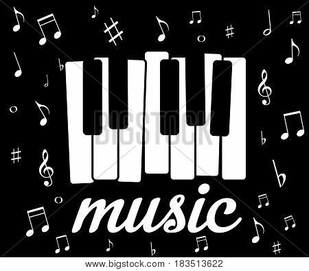 music icon with piano and musical notes. Vector illustration. Eps 10.