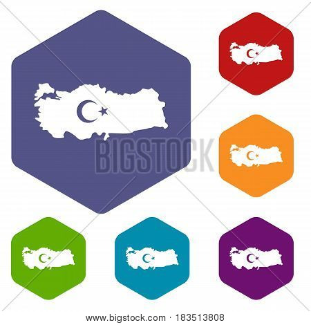 Map of Turkey with national flag symbols icons set hexagon isolated vector illustration