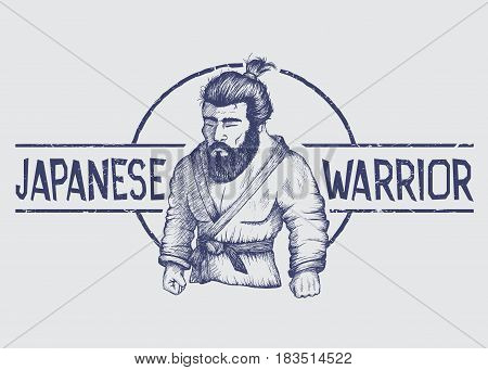Vector emblem with japan fighter of judo or Jiu-Jitsu.Label of japanese warrior.Hand drawn style.Prints design for t-shirts or posters