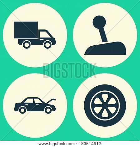 Automobile Icons Set. Collection Of Wheel, Lorry, Fixing And Other Elements. Also Includes Symbols Such As Wheel, Hood, Truck.