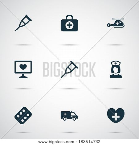 Medicine Icons Set. Collection Of First-Aid, Surgical Bag, Nanny And Other Elements. Also Includes Symbols Such As Pill, Helicopter, Copter.