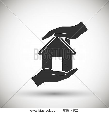 hands holding home. Eps 10. Vector illustration