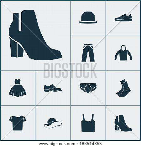 Garment Icons Set. Collection Of Half-Hose, Singlet, Sarafan And Other Elements. Also Includes Symbols Such As Socks, Shirt, Sarafan.
