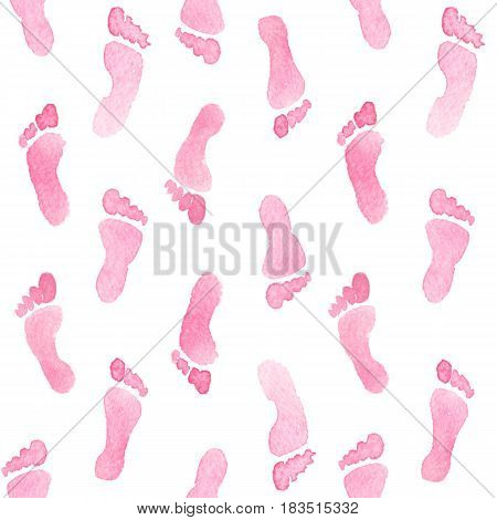 Pink feet watercolor seamless pattern For textile wallpaper wrapping web backgrounds and other pattern fills