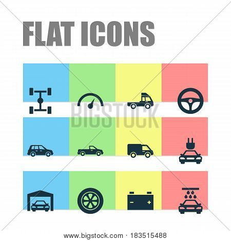 Auto Icons Set. Collection Of Truck, Van, Car And Other Elements. Also Includes Symbols Such As Automobile, Auto, Chassis.