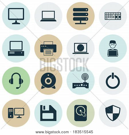 Notebook Icons Set. Collection Of Desktop, Defense, Diskette And Other Elements. Also Includes Symbols Such As Wifi, Laptop, Keypad.