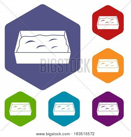 Cat toilet icons set hexagon isolated vector illustration