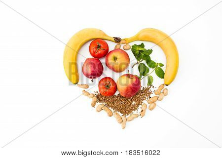 The heart shape by various vegetables and fruits