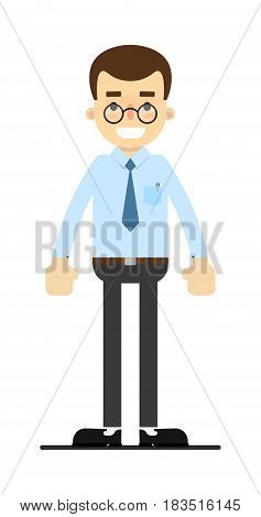 Smiling office clerk character isolated on white background vector illustration. People personage in flat design.