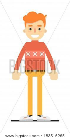 Young smiling redheaded guy character isolated on white background vector illustration. People personage in flat design.