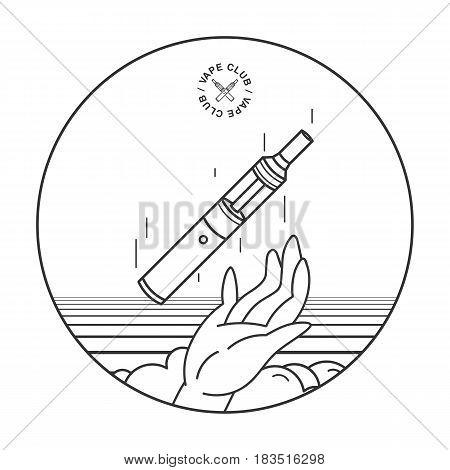 e-cigarette in hand. vape smoking concept, lineart illustration