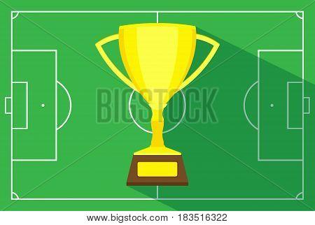 football field cup winner vector. Vector illustration. Eps 10.