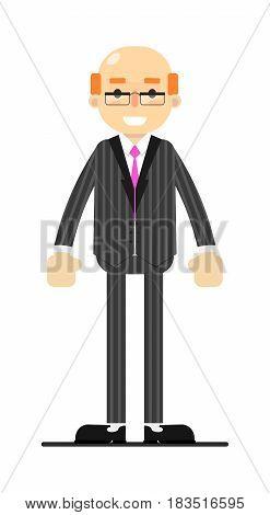 Adult bald man in business suit and tie isolated on white background vector illustration. People personage in flat design.