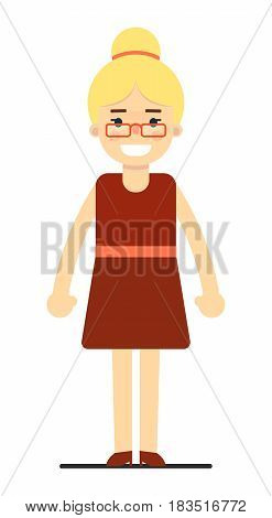 Positive blonde business woman in red dress isolated on white background vector illustration. People personage in flat design.