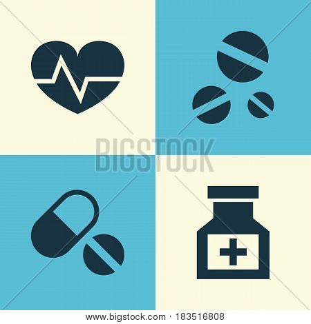 Medicine Icons Set. Collection Of Drug, Beating, Pills And Other Elements. Also Includes Symbols Such As Medicine, Cure, Aid.