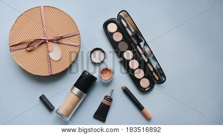 Professional makeup brushes for makeup On a gray background