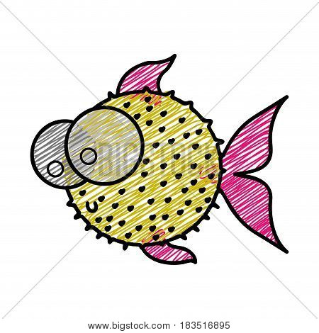 color pencil drawing of blowfish with big eyes vector illustration