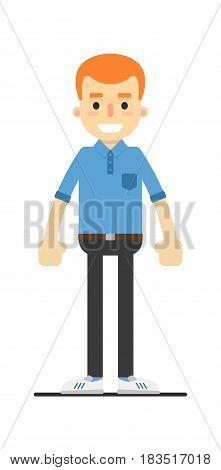 Young happy redheaded guy character isolated on white background vector illustration. People personage in flat design.