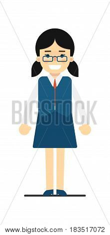 Smiling schoolgirl in blue uniform isolated on white background vector illustration. People personage in flat design.