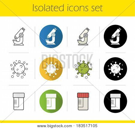 Science laboratory icons set. Flat design, linear, black and color styles. Microscope, molecule structure and virus, medical lab tests jar. Isolated vector illustrations