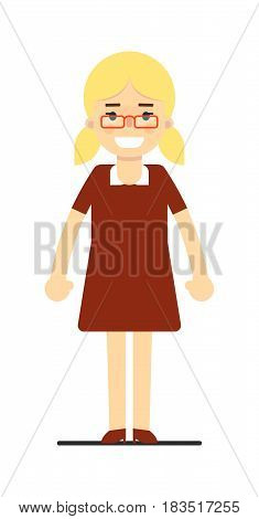 Beautiful happy blonde woman smiling isolated on white background vector illustration. People personage in flat design.
