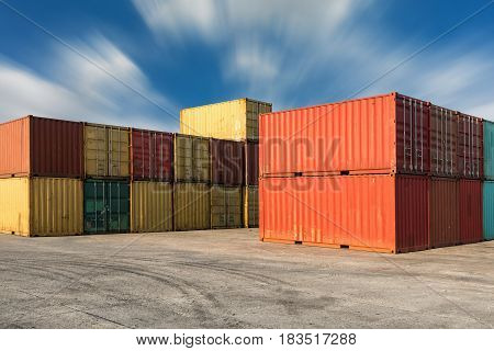 Handling stack of container shipping Transportation business.