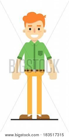 Young happy redheaded guy in shirt and pants isolated on white background vector illustration. People personage in flat design.