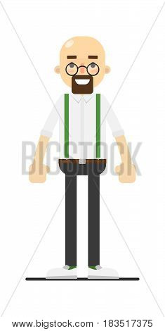 Smiling bald and bearded man isolated on white background vector illustration. People personage in flat design.