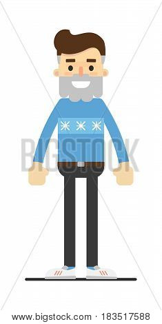 Successful hipster in sweater and pants isolated on white background vector illustration. People personage in flat design.