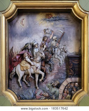 ZAGREB, CROATIA - MAY 28: The four horsemen of the apocalypse, Saint George altar in the Basilica of the Sacred Heart of Jesus in Zagreb, Croatia on May 28, 2015.