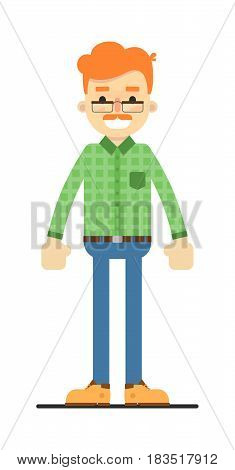 Adult redheaded man in shirt and pants isolated on white background vector illustration. People personage in flat design.
