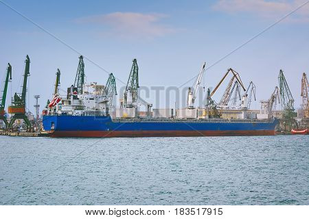 Dry Cargo Ship at Loading in the Port