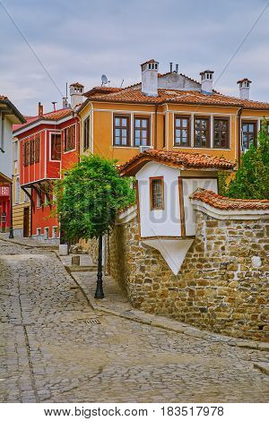 Street of an Old Town of Plovdiv Bulgaria