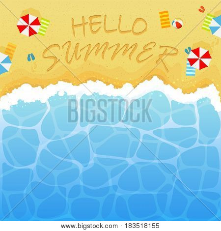Summer background with ocean or sea and sandy beach. Lettering Hello Summer with colored beach bal,l umbrellas, towels and flip flops with footprints, illustration.