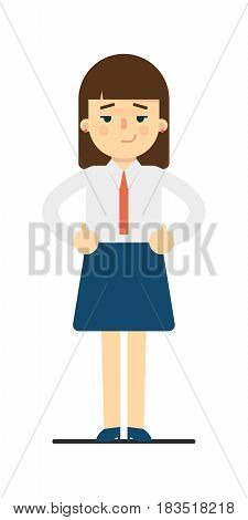 Dreamy young woman with hands on waist gesture isolated on white background vector illustration. Beautiful pretty school girl in blouse and skirt in flat design.