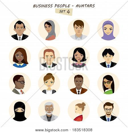 People avatars collectionbusiness man and business woman different races isolated on white background stock vector illustration.